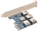 رایزر کارت گرافیک ماینینگ-Mining Card Riser Non -Brand PCIE X1 to 4 Port USB 3.1 PCIE Riser Card